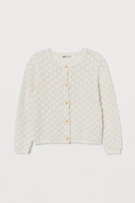 H&M Textured-knit Cardigan - White