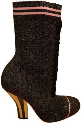 Fendi Grey Glitter Ankle boots