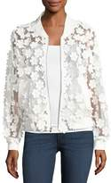 Milly Floral Applique Bomber Jacket