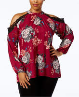 NY Collection Plus Size Printed Cold-Shoulder Blouse