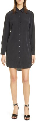 Equipment Essential Long Sleeve Silk Shirtdress