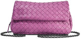 Bottega Veneta Messenger Mini Intrecciato Leather Shoulder Bag - Purple