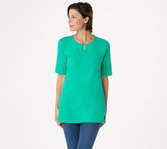 Denim & Co. Essentials Petite Perfect Jersey V-Neck Top