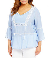 Gibson & Latimer Plus Bell Sleeve Crochet Trim Peasant Blouse