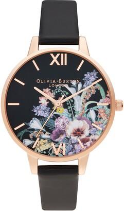 Olivia Burton Enchanted Garden Faux Leather Strap Watch, 34mm