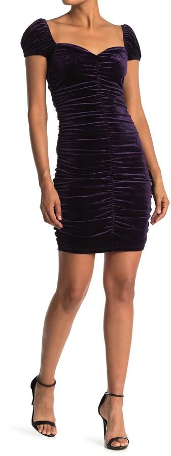 Lush Velvet Sweetheart Ruched Mini Dress