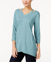Style&Co. Style & Co Cutout Handkerchief-Hem Tunic, Only at Macy's