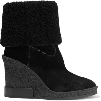 Tod's Shearling-paneled Suede Wedge Ankle Boots