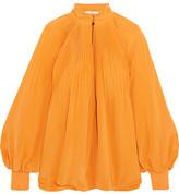 Tibi Plissé Silk Crepe De Chine Blouse - Saffron
