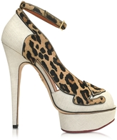 Charlotte Olympia Leopardess Linen and Leopard Print Haircalf Peep Toe Platform Pump