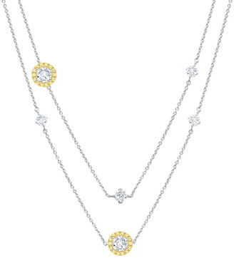 Crislu 18K, Platinum & Silver Cz 36In Necklace