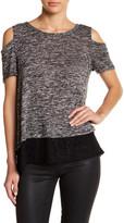 Hip Cold Shoulder Lace Hem Shirt