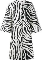 ADAM by Adam Lippes zebra print cocoon coat - women - Cotton/Spandex/Elastane/Silk/Polyester - S