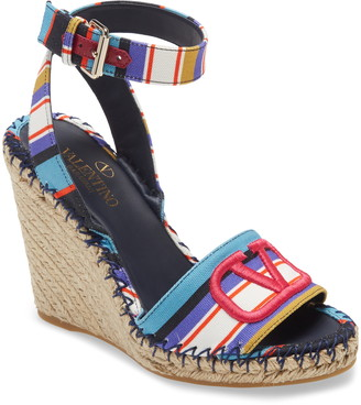 Valentino VLOGO Pop Baiadera Espadrille Platform Wedge Sandal