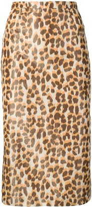 Rochas Leopard-Print Pencil Skirt