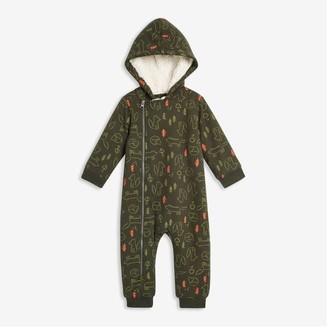Joe Fresh Baby Boys' Faux-Fur-Lined Romper, Army Green (Size 6-12)