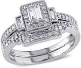 Zales 3/8 CT. T.W. Composite Diamond Square Frame Vintage-Style Bridal Set in 10K White Gold