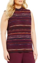 Allison Daley Plus Mock Neck Sleeveless Stripe Knit Top