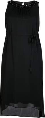 Evans Boutique Black Sleeveless Embellished Trim Dress
