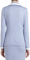 St. John Boyfriend One-Button Blazer, Periwinkle/White