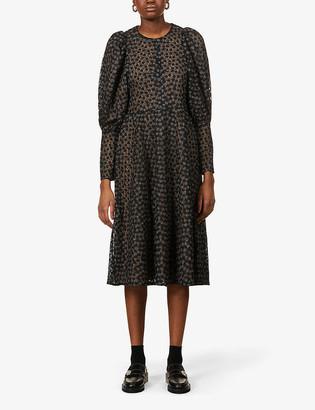 Samsoe & Samsoe Pimo Juliet-sleeve woven midi dress