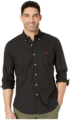 Polo Ralph Lauren Classic Fit Poplin Sport Shirt (Blue/White Hairline Stripe) Men's Long Sleeve Button Up