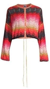 M Missoni Women's Lurex Crop Zigzag Cardigan - Pink Gold - Size 40 (4)