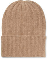 The Elder Statesman Short Bunny Echo Ribbed Cashmere Beanie - Camel