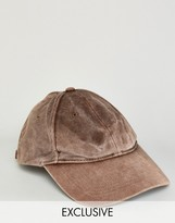 Reclaimed Vintage Washed Baseball Cap In Brown
