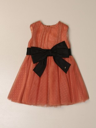 Elisabetta Franchi Dress In Polka Dot Tulle With Bow