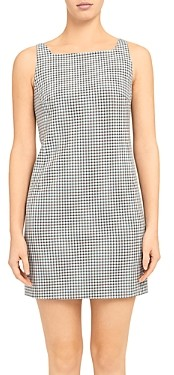 Theory Check Print Square Neck Dress