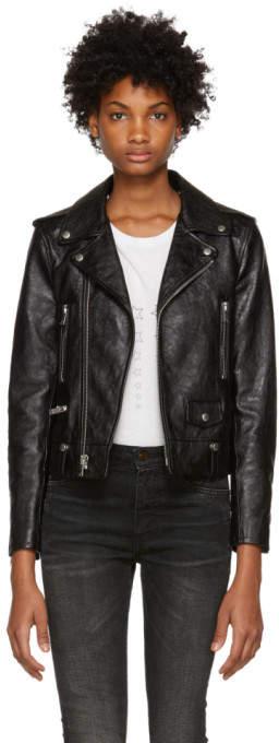 Saint Laurent Black Leather Classic Moto Jacket