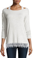 Design History Lightweight Lace-Trim Cold-Shoulder Tee, Stone Gray