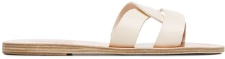 Ancient Greek Sandals white Desmos double strap leather sandals