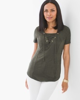 Chico's Lace-up Faux-Suede Top in Evergreen