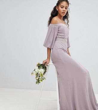 Bardot Tfnc Tall TFNC Tall Maxi Bridesmaid Dress with Sleeve Drama and Embellished Waist-Gray
