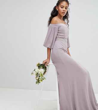 Bardot Tfnc Tall TFNC Tall Maxi Bridesmaid Dress with Sleeve Drama and Embellished Waist-Grey