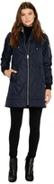 Vince Camuto Quilted Bomber Jacket with Removable Hood N8591 Women's Coat
