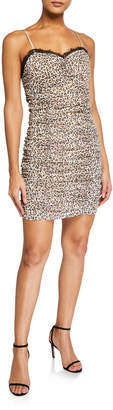 Endless Rose Leopard Print Lace Ruched Dress