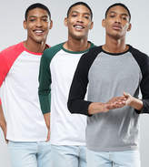 Asos 3 Pack Long Sleeve T-Shirt With 3/4 Contrast Raglan Sleeves Save
