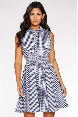 Quiz Navy and Cream Gingham Button Front Skater Dress
