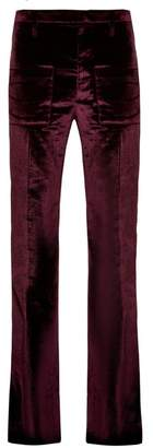 Vetements Flared Velvet Trousers - Womens - Burgundy
