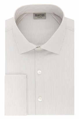 Kenneth Cole Reaction Men's Dress Shirt Slim Fit Technicole Stretch Stripe French Cuff