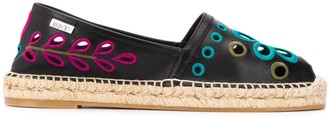 RED Valentino Embroidered Leather Espadrilles
