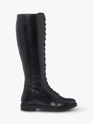 Bertie Thimble Leather Lace Up Knee High Boots, Black
