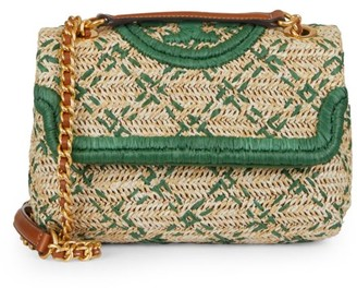 Tory Burch Fleming Leather-Trimmed Raffia Shoulder Bag