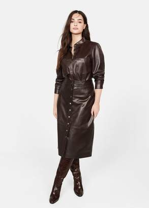 MANGO Violeta BY Buttoned leather jacket chocolate - L - Plus sizes