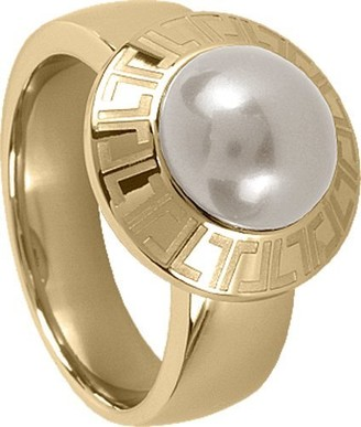Jacques Lemans Jewellery S-R16B54 Ladies' Ring Gold-Plated Stainless Steel Mother of Pearl Logo Engraving JL Size 54 / O