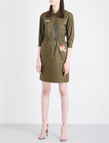 Mo&Co. Embroidered-patch stretch-cotton shirt dress