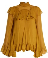 Chloé High-neck silk-crepon ruffled blouse